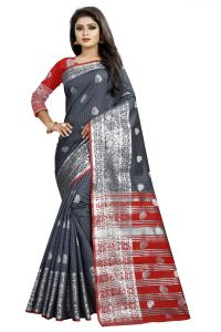 Mahadev Enterprise Gray And Red Cotton Silk Silver Jacquard Saree With Running Blouse Pic(code-bbc145h)
