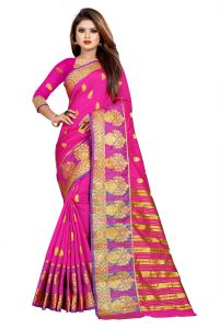 Mahadev Enterprise Pink Jacquard Cotton Silk Saree With Running Blouse Pics ( Code -bbc154b)