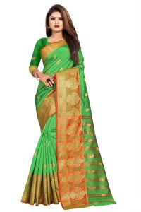 Mahadev Enterprise Parrot Green Jacquard Cotton Silk Saree With Running Blouse Pics ( Code -bbc154e)
