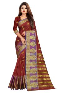 Mahadev Enterprise Maroon Jacquard Cotton Silk Saree With Running Blouse Pics ( Code -bbc154g)