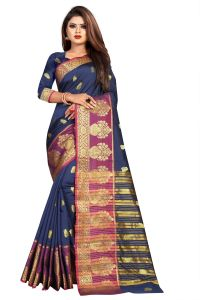 Mahadev Enterprise Navy Blue Jacquard Cotton Silk Saree With Running Blouse Pics ( Code -bbc154j)