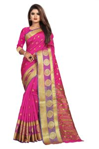 Mahadev Enterprise Pink Jacquard Cotton Silk Saree With Running Blouse Pics ( Code -bbc155b)