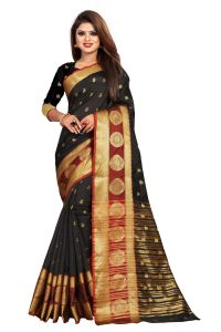 Mahadev Enterprise Black Jacquard Cotton Silk Saree With Running Blouse Pics ( Code -bbc155c)