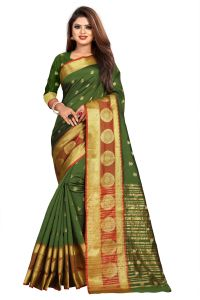 Mahadev Enterprise Mahendi Jacquard Cotton Silk Saree With Running Blouse Pics ( Code -bbc155d)