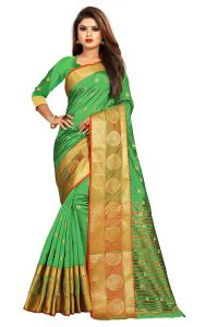 Mahadev Enterprise Parrot Green Jacquard Cotton Silk Saree With Running Blouse Pics ( Code -bbc155e)