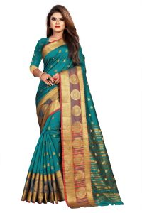 Mahadev Enterprise Rama Jacquard Cotton Silk Saree With Running Blouse Pics ( Code -bbc155f)
