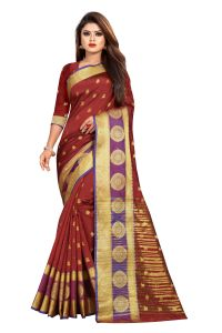 Mahadev Enterprise Maroon Jacquard Cotton Silk Saree With Running Blouse Pics ( Code -bbc155g)