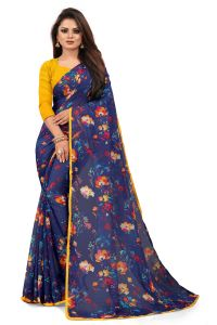 Mahadev Enterprise Blue Chiffon Printed Saree With Banglori Print Blouse Piecs( Code -bbc188g)
