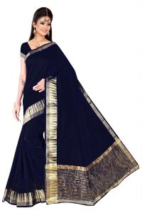 Mahadev Enterpries Blue Supernet Saree With Running Blouse ( Code- Bbc64 )