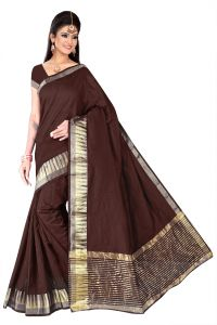Mahadev Enterpries Brwon Supernet Saree With Running Blouse ( Code- Bbc65 )