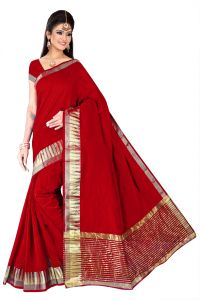 Mahadev Enterprises Red Saree With Blouse ( Code - Bbc68 )