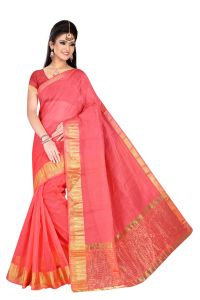 Mahadev Enterpries Peach Supernet Saree With Running Blouse ( Code- Bbc69 )