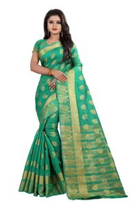 Mahadev Enterpries Green Cotton Silk Saree With Running Blouse ( Code- Bbc92 )