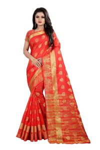 Mahadev Enterpries Red Cotton Silk Saree With Running Blouse ( Code- Bbc94 )