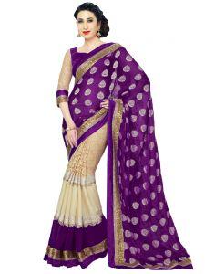 Georgette Sarees - Mahadev Enterprises Purple Color Georgatte & Rasal Net Saree With Unstitched Blouse Pics BVM42
