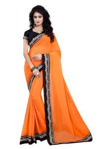 Women's Clothing ,Women's Accessories ,Womens Footwear  - Mahadev Enterprises Orange Color Georgatte Saree With Unstitched Blouse Pics BVM65