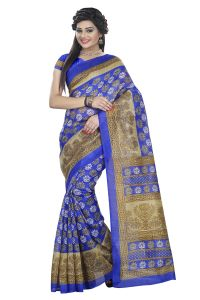 Mahadev Enterprises Blue Color Bhagalpuri Cotton Silk Saree With Unstitched Blouse Pics Mmb118