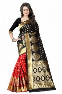 Mahadev Enterprises Black & Red Cotton Saree With Blouse Pics Bvm06