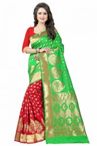 Mahadev Enterprises Green & Red Cotton Saree With Blouse Pics Bvm08