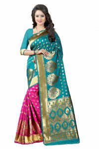 Mahadev Enterprises Green & Pink Cotton Saree With Blouse Pics Bvm12