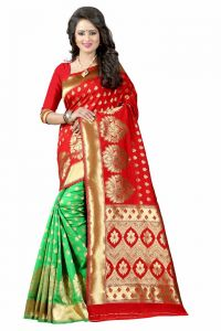 Mahadev Enterprises Red & Green Cotton Saree With Blouse Pics Bvm13