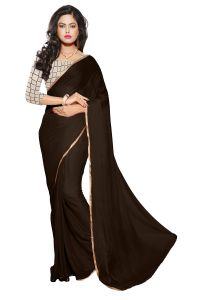 Mahadev Enterprises Copy ( Brown ) Colour Nazmin Plain Saree With Unstitched Blouse Pics Mak03