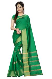 Mahadev Enterprises Green Colour Cotton Jari Embroidered Work Saree With Unstiched Blouse Pics Meg06