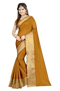 Mahadev Enterprises Gold Color Cotton Silk Saree With Unstitched Blouse Pics Akm10
