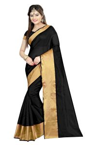 Mahadev Enterprises Black Color Cotton Silk Saree With Unstitched Blouse Pics Akm11
