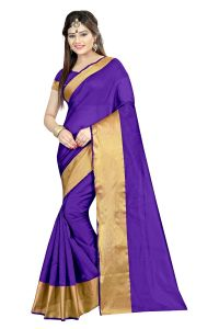 Mahadev Enterprises Purple Color Cotton Silk Saree With Unstitched Blouse Pics Akm06