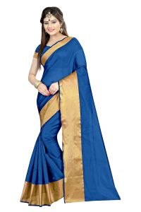 Mahadev Enterprises Navy_blue Color Cotton Silk Saree With Unstitched Blouse Pics Akm07
