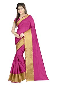 Mahadev Enterprises Pink Color Cotton Silk Saree With Unstitched Blouse Pics Akm08