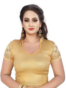 Mahadev Enterprises Gold Pure Cotton Lycra With Net Readymade Blouse ( Code - Mps151b )