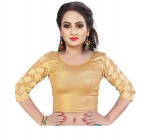Mahadev Enterprises Gold Pure Cotton Lycra With Net Readymade Blouse ( Code - Mps162a )