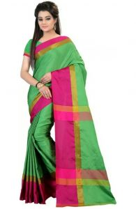 Mahadev Enterprises Sea_green Color Cotton Silk Saree With Unstitched Blouse Pics Mncs26501