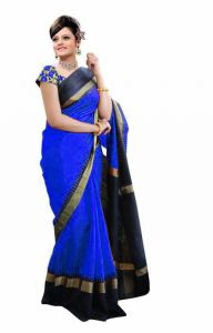 Mahadev Enterprises Blue Color Bhagalpuri Silk Saree With Unstitched Blouse Pics Mncs1806
