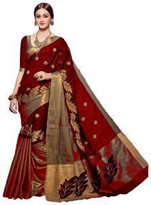 Mahadev Enterprises Red Color Cotton Silk Embroidery Work Saree With Unstitched Blouse Pics Pf01