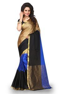 Mahadev Enterprises Multicolor Cotton Silk Saree With Unstitched Blouse Pics Pf09