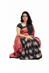 Mahadev Enterprises Black & Red Bhagalpuri Silk Saree With Blouse Pics ( Code Pf114 )