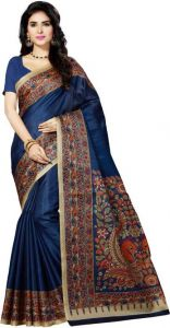 Mahadev Enterprises Blue Bhagalpuri Cotton Saree With Running Blouse Piece ( Code - Pf131 )