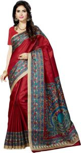 Mahadev Enterprises Red Bhagalpuri Cotton Saree With Running Blouse Piece ( Code - Pf132 )