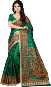 Cotton Sarees - Mahadev Enterprises Green Bhagalpuri Cotton Saree With Running Blouse Piece ( Code - PF134 )