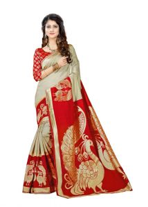 Sarees - Mahadev Enterprises Chicku & Red Super Stabery Soft Silk Saree With Unstitched Blouse Piece (Code - PF170)