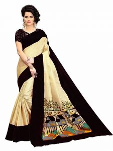 Mahadev Enterprises Chicku & Black Super Stabery Soft Silk Saree With Unstitched Blouse Piece (code - Pf171)