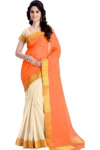 Mahadev Enterprises Orange Color Cotton Silk Saree With Unstitched Blouse Pics Pf17