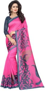 Mahadev Enterprises Pink Bhagalpuri Silk Saree With Unstitched Blouse Piece ( Code - Pf185 )