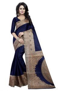 Mahadev Enterprises Blue Bhagalpuri Silk Saree With Unstitched Blouse Piece (code - Pf186)