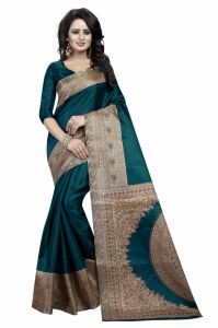Mahadev Enterprises Green Bhagalpuri Silk Saree With Unstitched Blouse Piece (code - Pf187)