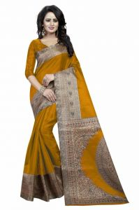 Mahadev Enterprises Mustard Bhagalpuri Silk Saree With Unstitched Blouse Piece (code - Pf188)
