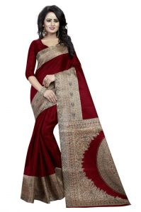 Mahadev Enterprises Red Bhagalpuri Silk Saree With Unstitched Blouse Piece (code Pf190)